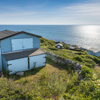 Buy canvas prints of Chesil Cove Beach Huts by Martin Parratt