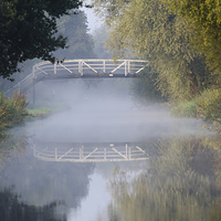 Buy canvas prints of Canal bridge in the mist  by Steev Stamford