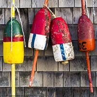 Buy canvas prints of Lobster Buoys on Shingle Wall - Cape Neddick -  Maine  by Steven Ralser