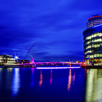 Buy canvas prints of Salford Quays Footbridge by Juha Remes