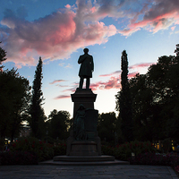 Buy canvas prints of Statue on Twilight by Juha Remes