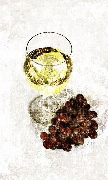 white wine glass with grapes Canvas print by olga hutsul