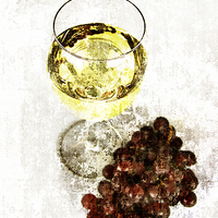 Buy canvas prints of white wine glass with grapes by olga hutsul