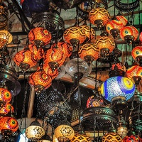 Buy canvas prints of  Coloured lamps by Scott Anderson