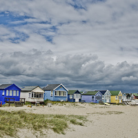 Buy canvas prints of Mudeford spit beach huts by dan ward