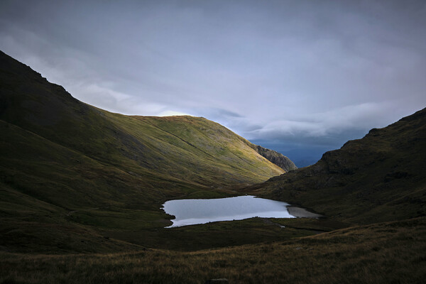 Light around the corner, Styhead Tarn, The Lake District Framed Mounted Print by Dan Ward