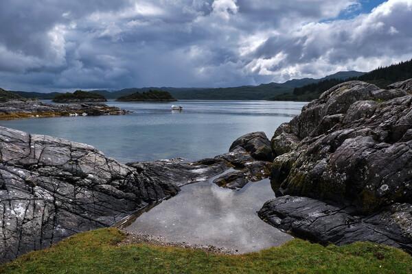 All Calm at Kentra Bay, West Scotland Print by Dan Ward