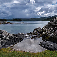 Buy canvas prints of All Calm at Kentra Bay, West Scotland by Dan Ward