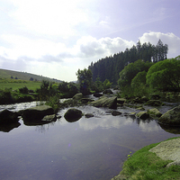 Buy canvas prints of JST3082 East Dart river by Jim Tampin