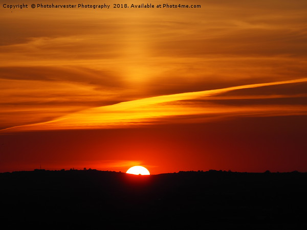 Sunset over Aylesbury Vale with rare Sun Pillar Canvas Print by Photoharvester Photography