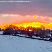 Buy canvas prints of Fire and Ice; Sunset in the snow. by Elizabeth Debenham