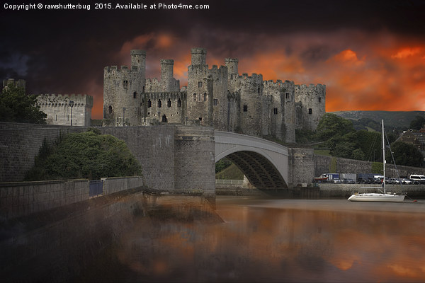 Dramatic Sky Over Castell Conwy Canvas Print by rawshutterbug