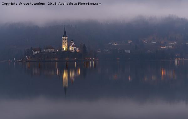 Misty Lake Bled At Night Canvas print by rawshutterbug