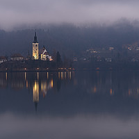 Buy canvas prints of Misty Lake Bled At Night by rawshutterbug