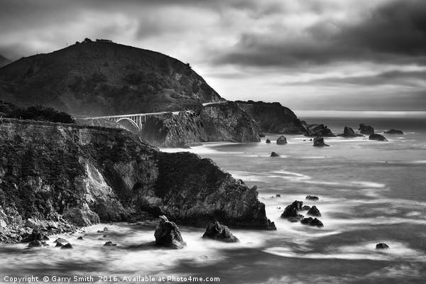 Bixby Bridge, The Pacific Coast Highway, U.S.A Framed Print by Garry Smith