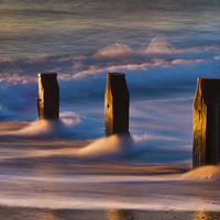 Buy canvas prints of Groynes At Sunrise by Tracey Yeo. Devon Photography