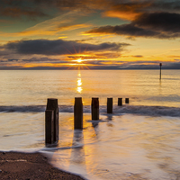 Buy canvas prints of Beach Golden Sunrise by Tracey Yeo. Devon Photography
