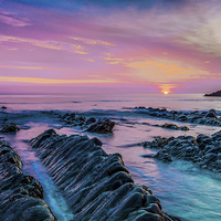 Buy canvas prints of Purple Sunset by Tracey Yeo. Devon Photography