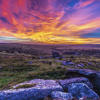 Buy canvas prints of Saddle Tor Sunset by Tracey Yeo. Devon Photography