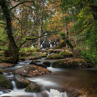 Buy canvas prints of Below The Falls. by Tracey Yeo. Devon Photography