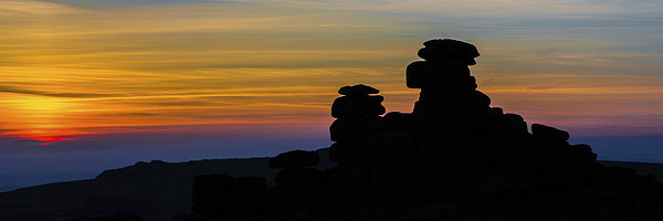 Staple Tor Silhouette. Canvas print by Tracey Yeo. Devon Photography