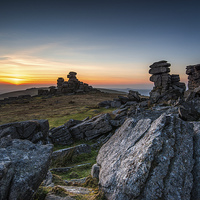 Buy canvas prints of Staple Tor Sunset by Tracey Yeo. Devon Photography