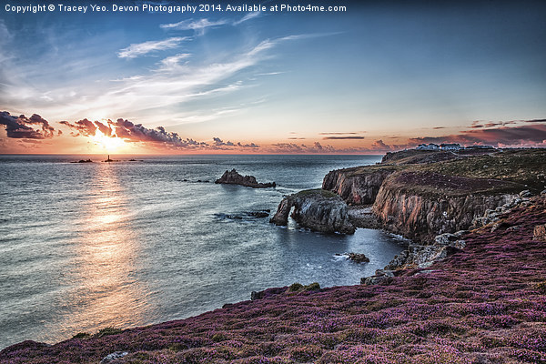 Last Light At lands End Canvas print by Tracey Yeo. Devon Photography