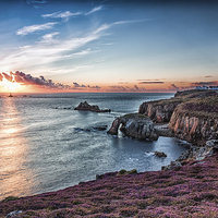 Buy canvas prints of  Last Light At lands End by Tracey Yeo. Devon Photography