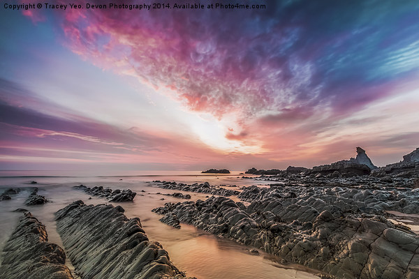 Hartland Quay Sunset Canvas print by Tracey Yeo. Devon Photography