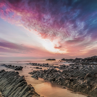 Buy canvas prints of  Hartland Quay Sunset by Tracey Yeo. Devon Photography