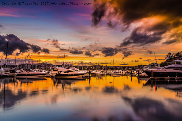 Torquay Marina Sunset. Canvas print by Tracey Yeo