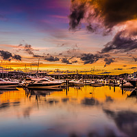 Buy canvas prints of Torquay Marina Sunset. by Tracey Yeo
