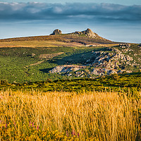 Buy canvas prints of Haytor Rocks With Painted Effect. by Tracey Yeo