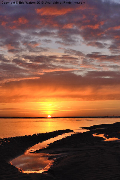 North Sea Sunrise Framed Mounted Print by Eric Watson