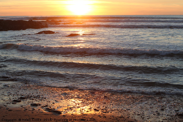 Sunset at Croyde Canvas Print by Helen Cooke