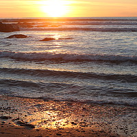 Buy canvas prints of Sunset at Croyde by Helen Cooke