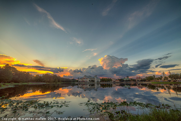 Stormy Sunset Over Celebration Florida Print by matthew mallett