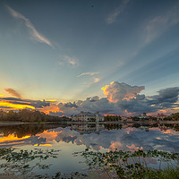 Buy canvas prints of Stormy Sunset Over Celebration Florida by matthew mallett