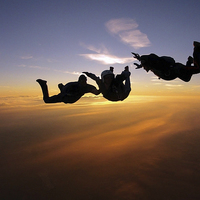 Buy canvas prints of Sunset AFF skydiving photo by Ewan Cowie