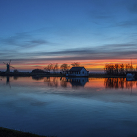 Buy canvas prints of Sunset at Thurne Dyke, Norfolk Broads by James Taylor