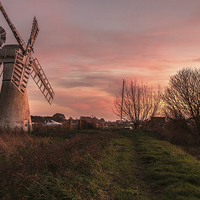 Buy canvas prints of Thurne Windmill Sunset River thurne by James Taylor