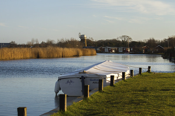 Little boat alone on the River Thurne, Martham, No Canvas Print by James Taylor