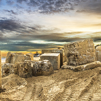 Buy canvas prints of Hemsby Beach Old Blocks by James Taylor