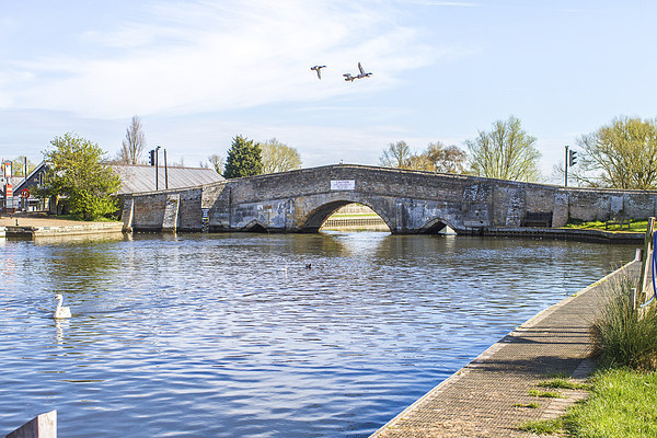 Potter Heigham Bridge with flying ducks Canvas Print by James Taylor