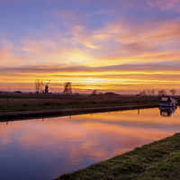 Buy canvas prints of  Sunset at Thurne Norfolk by James Taylor