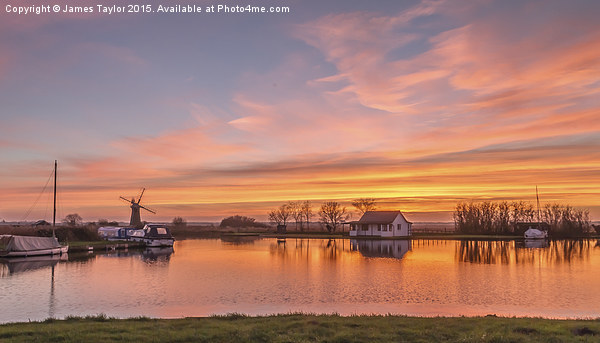 Sunset Thurne Norfolk Canvas Print by James Taylor