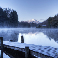Buy canvas prints of Frosty Loch Ard. by Tommy Dickson