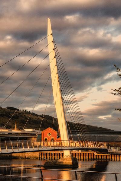 Swansea Sail Bridge late evening Canvas print by Paul Nicholas