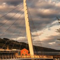 Buy canvas prints of Swansea Sail Bridge late evening by Paul Nicholas
