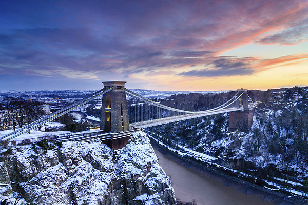 Clifton Bridge, Bristol, UK, Dusk, Winter Canvas print by Daugirdas Tomas Racys
